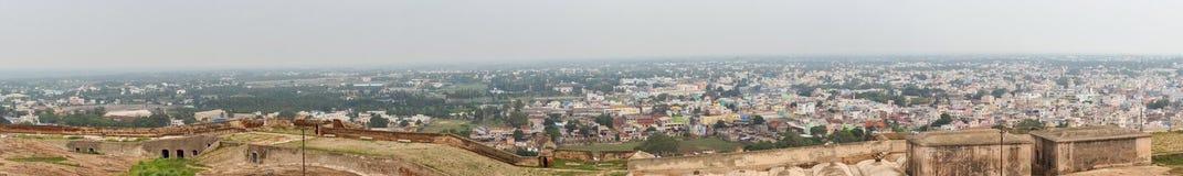 Panorama de Dindigul vu du fort de roche Photos stock
