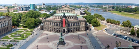 Panorama de Dresden, teatro de la ópera de Semper, Fotos de archivo libres de regalías