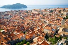 Panorama de Dubrovnik au lever de soleil, fond de course Photos stock