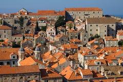 Panorama de Dubrovnik au lever de soleil, fond de course Image stock