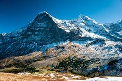 Panorama de Eiger y de Monch Imagenes de archivo