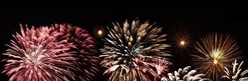 Panorama de feux d'artifice Photo libre de droits