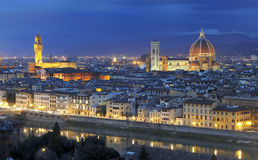 Panorama de Florence par nuit Photo libre de droits