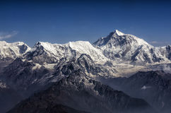 Panorama de gamme de montagne de crête et de l'Himalaya Everest d'Everest photo libre de droits