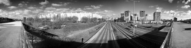 Panorama de Gdansk Zaspa, Polônia Olhar artístico em preto e branco Imagem de Stock Royalty Free