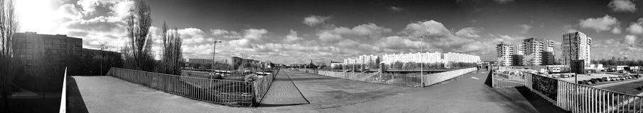 Panorama de Gdansk Zaspa, Polônia Olhar artístico em preto e branco Foto de Stock
