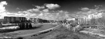 Panorama de Gdansk Zaspa, Polônia Olhar artístico em preto e branco Fotos de Stock Royalty Free