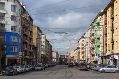 Panorama de general Mihail Skobelev Boulevard en Sofía, Bulgaria Foto de archivo