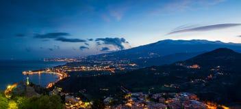 Panorama de Giardini-Naxos Images libres de droits