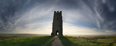 Panorama de Glastonbury Imagenes de archivo