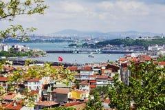 Panorama de Golfe d'or de klaxon et du Bosphorus Photo stock