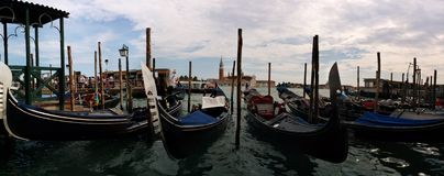 Panorama de gondoles de Venise Photos libres de droits