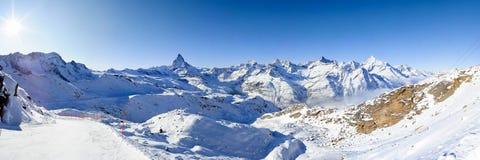Panorama de gornergrat en hiver Photos stock