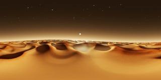 panorama de 360 grados de la puesta del sol en Marte, dunas de arena de Marte, mapa del ambiente 360 HDRI Proyección de Equirecta ilustración del vector