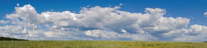 Panorama de grands nuages dans un ciel. milieux de nature Images stock