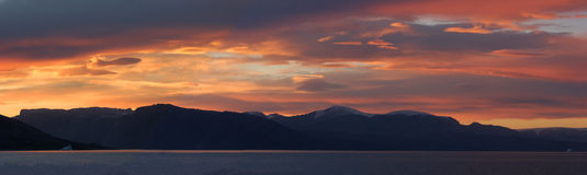 Panorama de Greenland no por do sol Foto de Stock Royalty Free