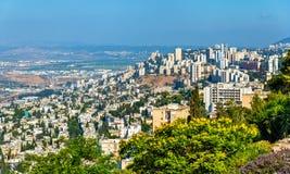 Panorama de Haïfa du mont Carmel Photographie stock libre de droits