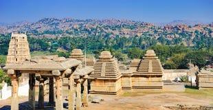 Panorama de Hampi, vista del templo de Virupaksha imagen de archivo libre de regalías