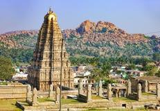 Panorama de Hampi, vista del templo de Virupaksha fotografía de archivo libre de regalías