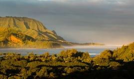 Panorama de Hanalei sur l'île de Kauai Image stock