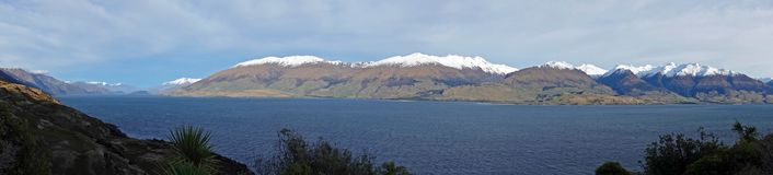 Panorama de Hawea do lago, Nova Zelândia fotografia de stock