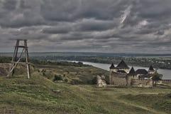 Panorama de HDR del castillo de Khotyn foto de archivo libre de regalías