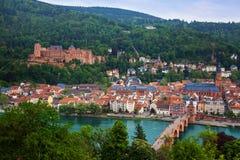 Panorama de Heidelberg do castelo da cidade, ponte de Brucke Foto de Stock Royalty Free