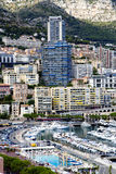 Panorama de Hercule de port de marina de Monte Carlo Photos libres de droits