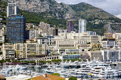 Panorama de Hercule de port de marina de Monte Carlo Photo libre de droits