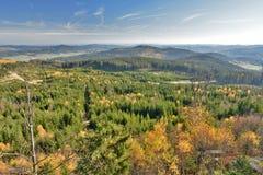 Panorama in de herfst van Nebelstein in Waldviertel, Lager Oostenrijk stock afbeeldingen