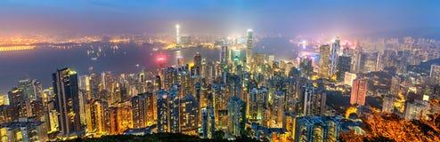 Panorama de Hong Kong Island na noite, China fotografia de stock
