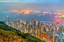 Panorama de Hong Kong Island na noite, China imagem de stock