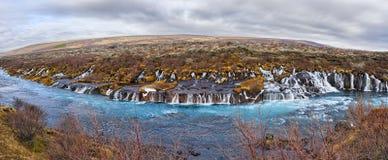 Panorama de Hraunfossar Fotografia de Stock