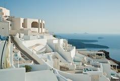 Panorama de Imerovigli, Santorini, Grécia Imagens de Stock Royalty Free