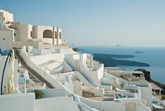 Panorama de Imerovigli, Santorini, Grecia Imágenes de archivo libres de regalías