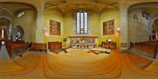 panorama de 360 intérieurs de la cathédrale luthérienne du transept du nord de St Mary à Sibiu, Roumanie photos stock