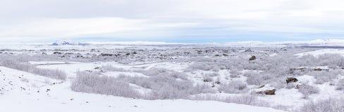 Panorama de Islandia del paisaje del invierno imagen de archivo