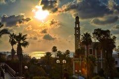 Panorama de Jaffa velho no por do sol fotos de stock royalty free