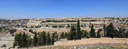 Panorama de Jérusalem du mont des Oliviers Photos stock