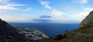 Panorama de Kamari Foto de archivo
