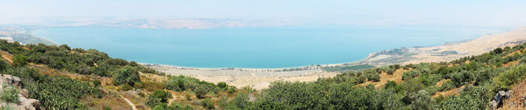 Panorama de Kinneret entièrement photo libre de droits