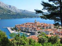 Panorama de Korcula, vieille ville médiévale dans la région de la Dalmatie photo stock