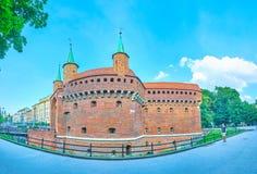 Panorama de Krakow Barbakan, Polônia Imagem de Stock Royalty Free