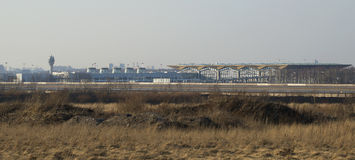 Panorama de l'aéroport de Pulkovo La vue des tailles de Pulkovo St Petersburg Photo stock