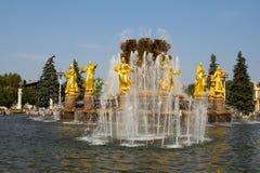 Panorama de l'amitié de fontaine des peuples en parc de VDNH à Moscou Russie Photos libres de droits
