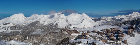 Panorama de l'Avoriaz, Portes du Soleil Images stock