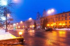 Panorama de l'hiver de nuit de Minsk, Belarus photos libres de droits