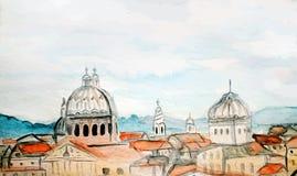 Panorama de la acuarela de Roma ilustración del vector