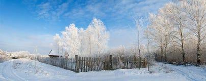 Panorama de la aldea del invierno Imágenes de archivo libres de regalías