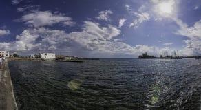 Panorama de la bahía de Grecia Rodas fotos de archivo